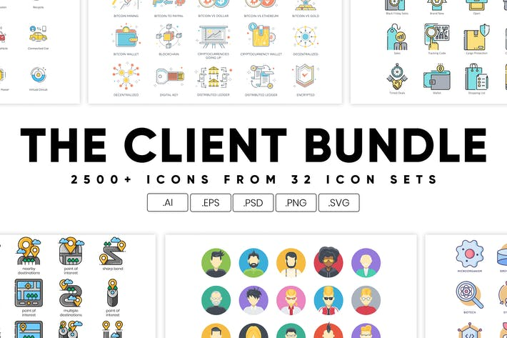 Thumbnail for The Client Bundle 2,500+ Icons