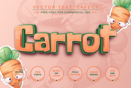 Sweet carrot - editable text effect, font style
