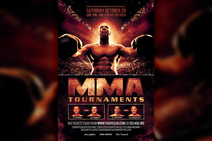 MMA Boxing Fight Cinematic Flyer Template by HyperPix on Envato Elements