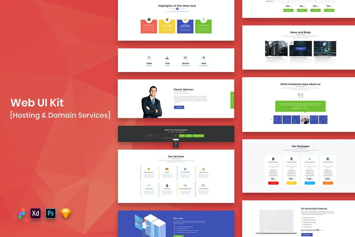 Thumbnail for Hosting & Domain Services Web UI Kit