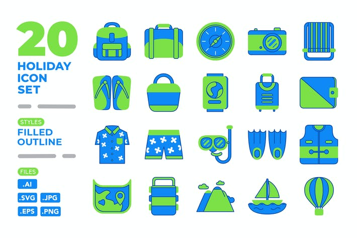 Thumbnail for Holiday Icon Set (Filled Outline)