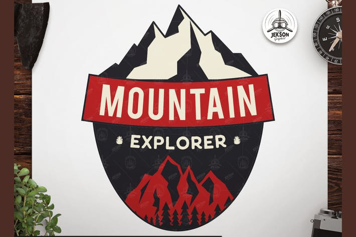Thumbnail for Mountain Explore Badge / Vintage Travel Logo Patch