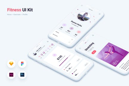 Fitness Gym Mobile App UI Kit Template