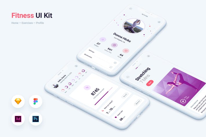 Thumbnail for Fitness Gym Mobile App UI Kit Vorlage