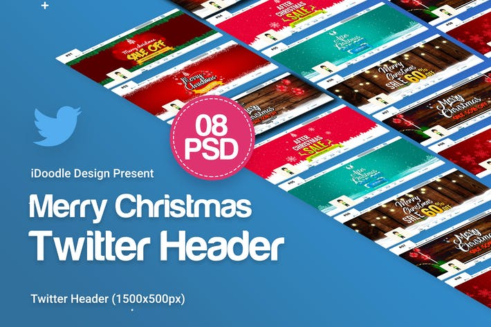 Thumbnail for Merry Christmas Twitter Header - 08 PSD