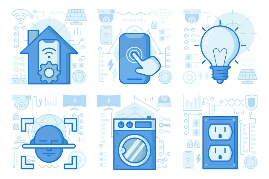 Smartphone Home Preferences UI UX Illustrations