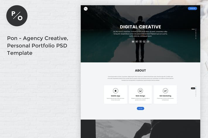 Thumbnail for Pon - Responsive Personal Portfolio PSD Template