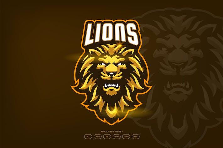 Gold Lion Head Animal Mascot Logo Template