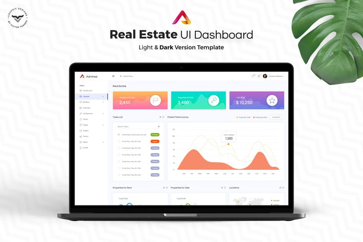 Cover Image For Real Estate Admin Dashboard UI Kit