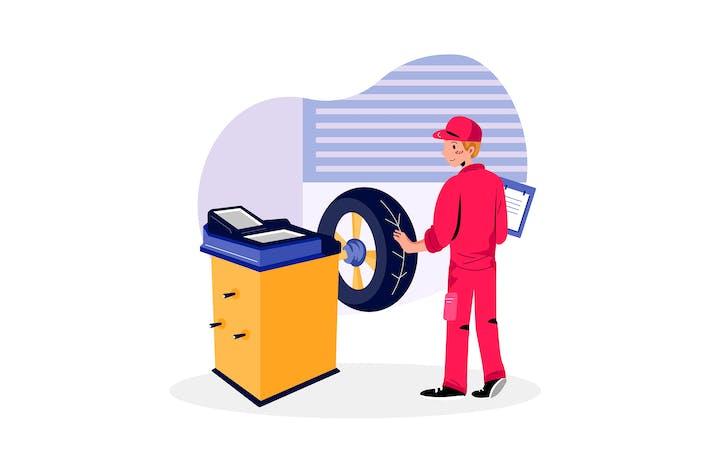 Reifenauswucht-Service Illustration