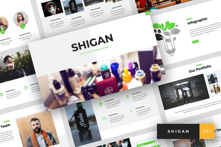 Thumbnail for Shigan - Vape Shop Google Slides Template