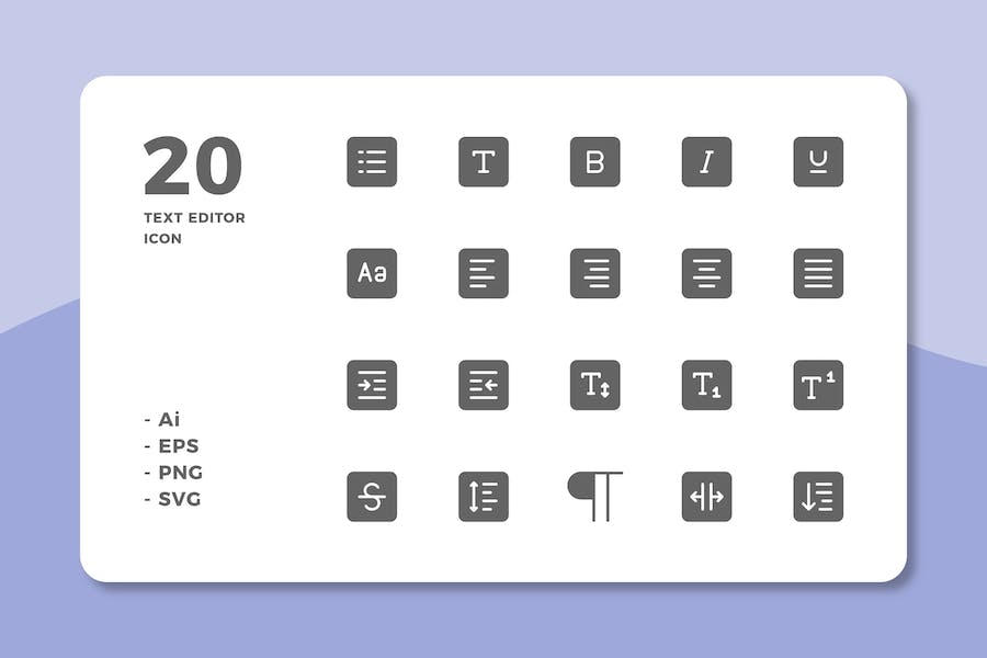 20 Text Editor Icons (Solid)