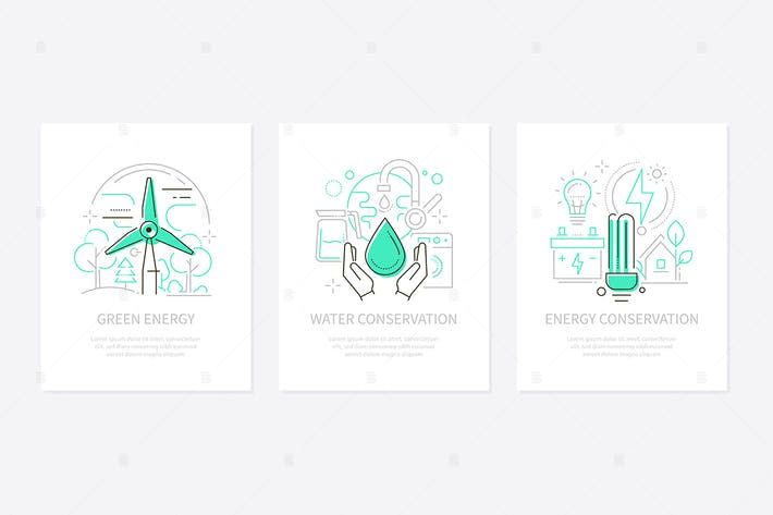 Thumbnail for Eco lifestyle - line design style banners