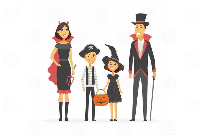 Thumbnail for Family at Halloween party - vector illustration