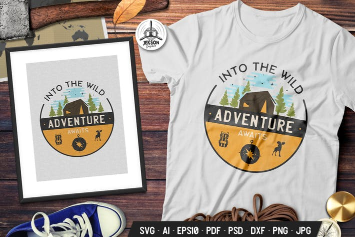 Thumbnail for Into The Wild Badge Vector Camp Retro Graphic Logo