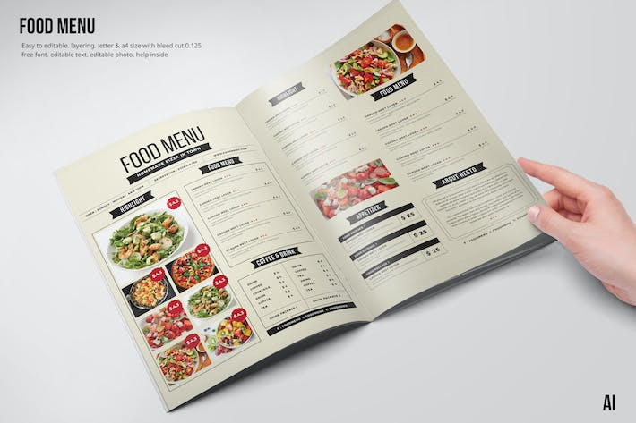Thumbnail for Clean & Fresh A4 & US Letter Food Menu