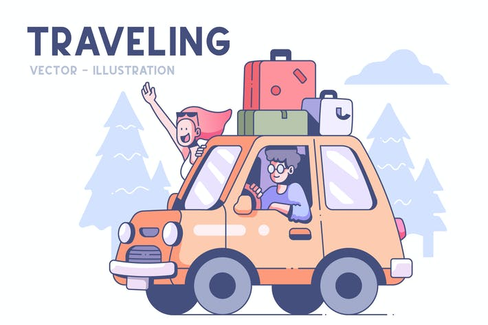 Thumbnail for Couple traveling by car illustration