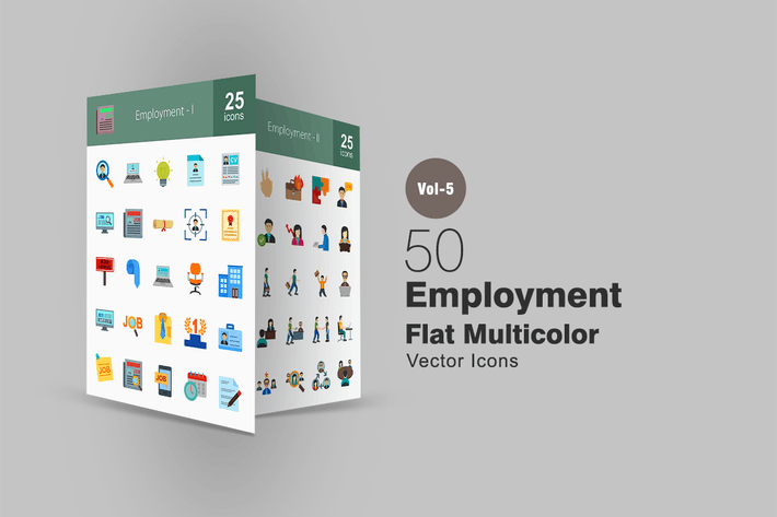 Thumbnail for 50 Employment Flat Multicolor Icons