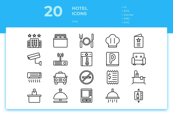 Thumbnail for 20 Hotel Icons (Line)