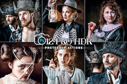 12 PRO HDR портретные действия Photoshop