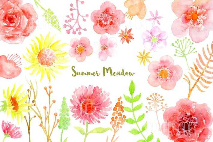 Thumbnail for Watercolor Clipart Summer Meadow
