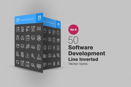 50 Software Development Line Inverted Icons