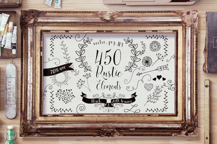 450 Rustic Elements. Vector, PNG