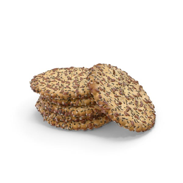 Small Pile of Circular Crackers with Seeds
