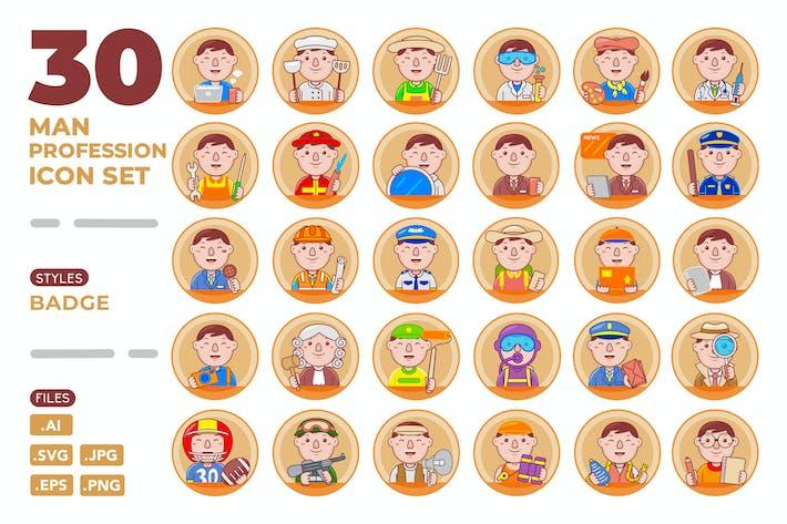 Thumbnail for Man Profession Icon Set (Badge)