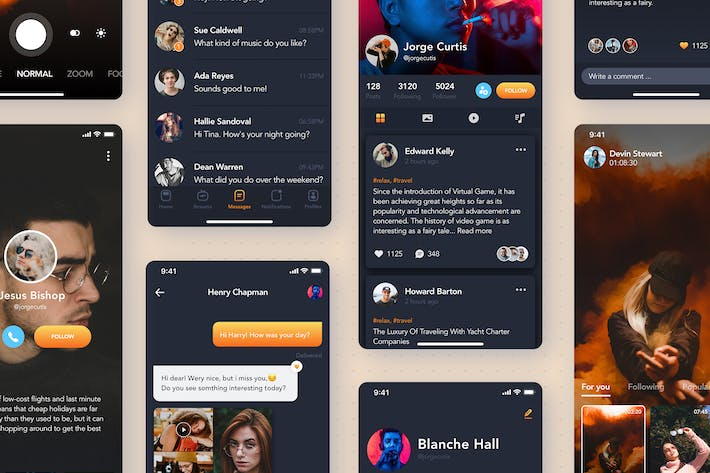 Thumbnail for Stream Live Video - Social mobile UI concept