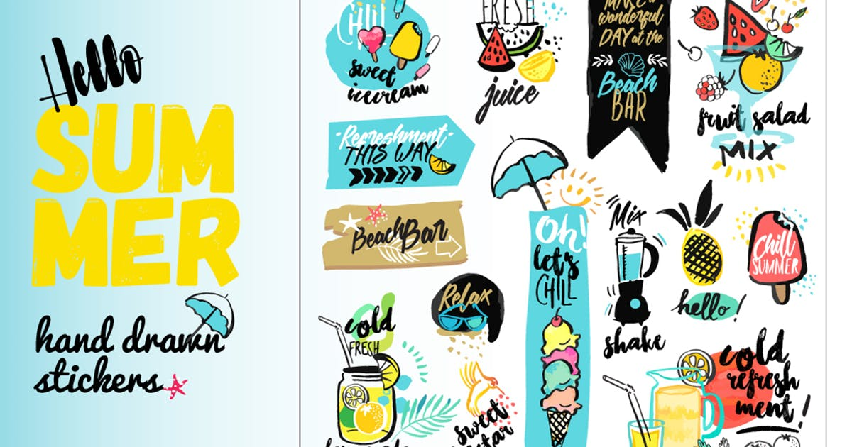 Download Set of hand drawn watercolor signs of summer. by PureSolution