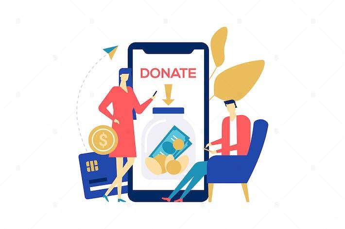 Wohltätigkeitsorganisation und Spende - flache Designillustration