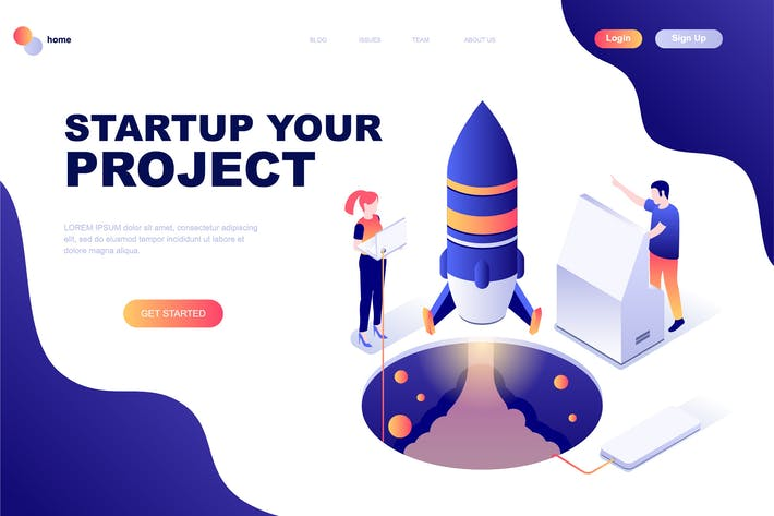 Thumbnail for Business Startup Isometric Landing Page Template