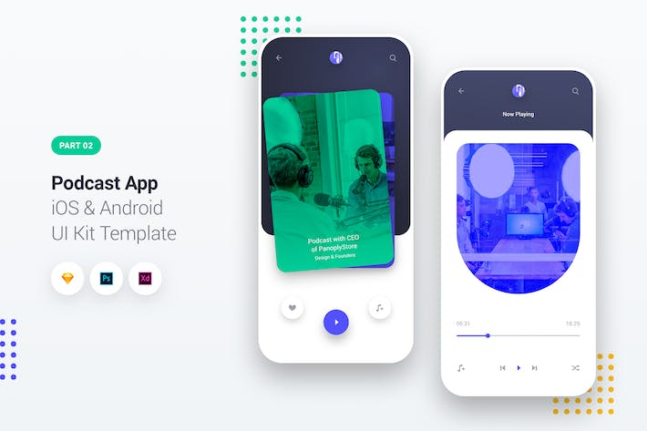 Thumbnail for Podcast Player App iOS & Android UI Kit Template 2
