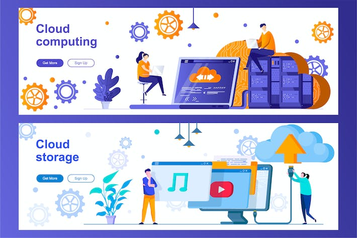 Thumbnail for Cloud Computing and Storage Web Banners