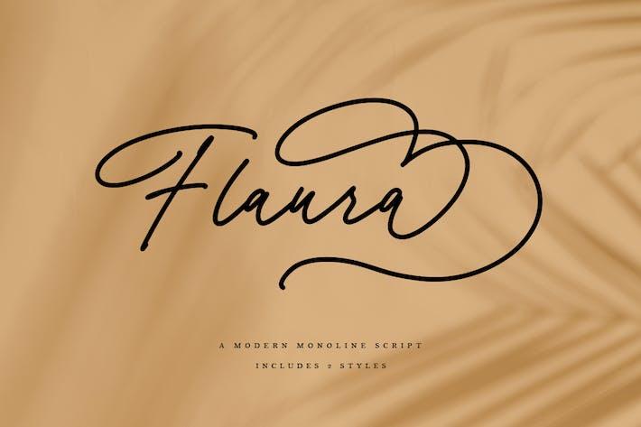 Thumbnail for Flaura - A Modern Monoline Script MS