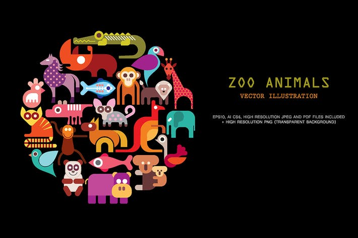 Thumbnail for Zoo Animals vector icon set
