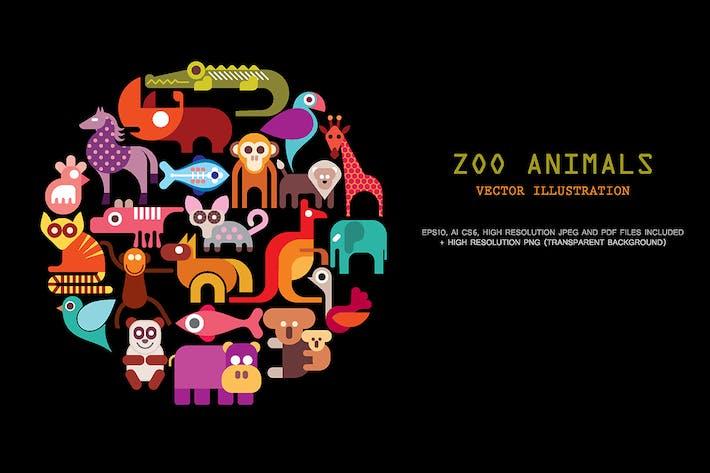 Thumbnail for Zoo Tiere Vektor -Satz