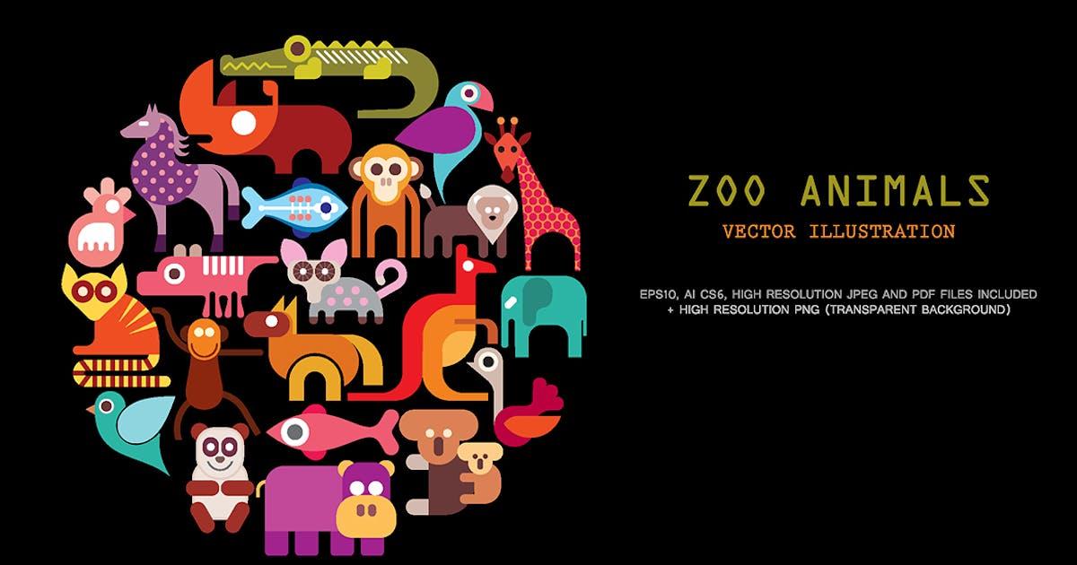 Download Zoo Animals vector icon set by danjazzia