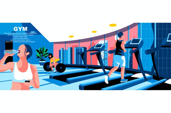 Thumbnail for Gym Flat Concept Landing Page Header