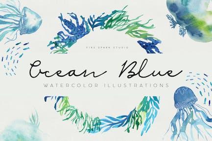 Ilustraciones de acuarela azul océano