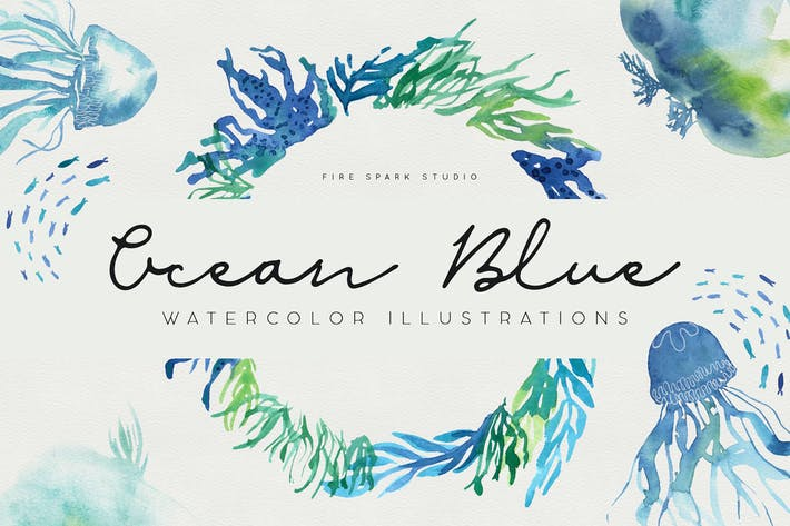 Thumbnail for Ocean Blue Watercolor Illustrations