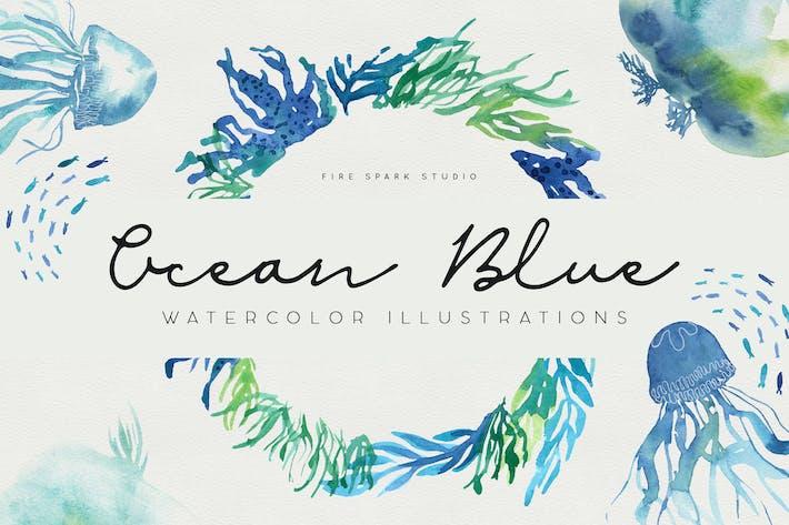 Thumbnail for Ozeanblau Aquarell Illustrationen