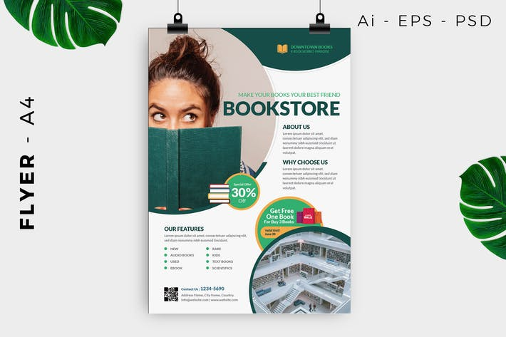 Thumbnail for Bookstore / Library Flyer Template