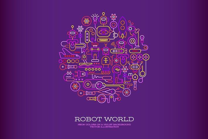 Thumbnail for Robot World round shape vector artwork (2 options)