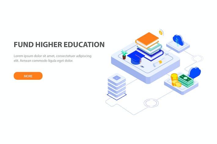 Thumbnail for Fund Higher Education Isometric Illustration - FV
