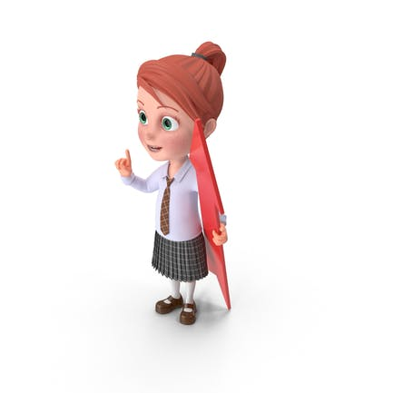 Cartoon Girl Grace with Pointer
