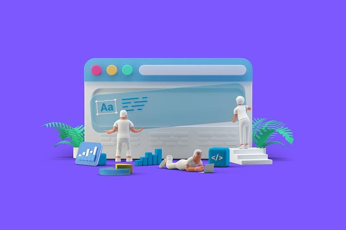 Ui Ux Design Team working with Web Browser website