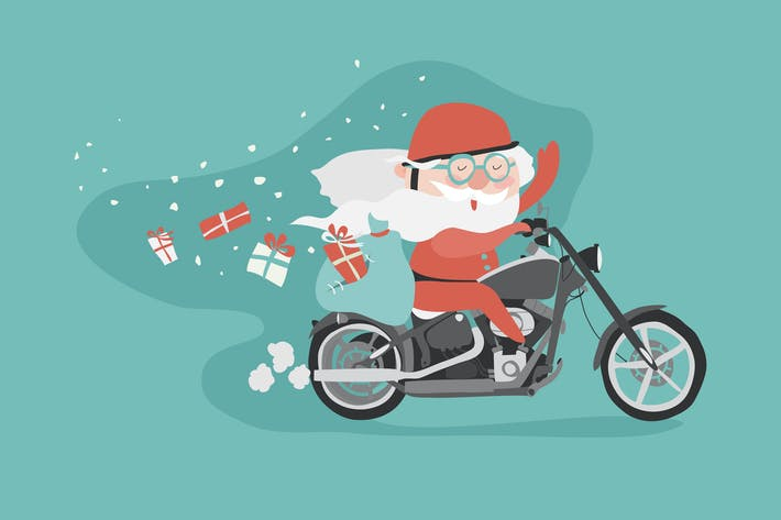Cover Image For Santa on a motorcycle. Vector christmas