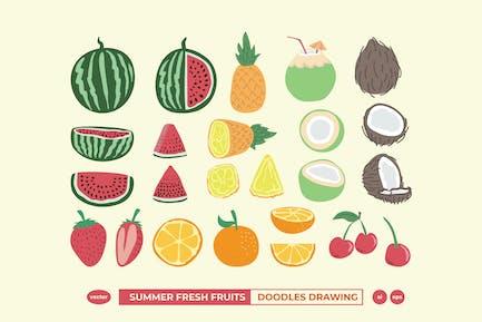 Summer Fresh Fruits Doodle